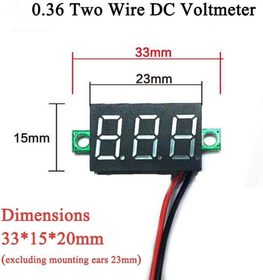 SENRISEE Lot de 5 mini voltm/ètre num/érique LED 2 fils 2,5-30 V DC 2,5-30 V Testeur de tension 3 couleurs rouge, bleu, vert vert