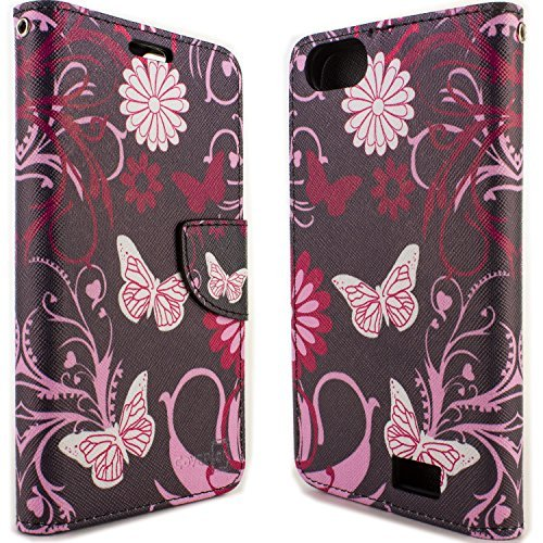 huawei raven case. huawei raven lte phone case, coveron® [carryall series] flip wallet cover \u0026 screen protector strap pouch for - pink butterfly heart design case h
