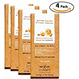 Elements Truffles Orange Pistachio Bar with Turmeric Infusion - Dairy Free Chocolate Bar - Gluten Free, Non-GMO, Raw & Organic Chocolate Bar - Ayurveda Inspired Healthy Chocolate Bar - Four Pack