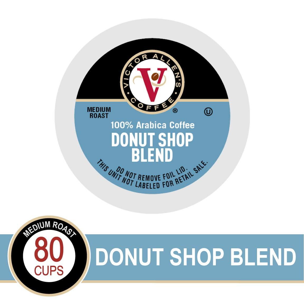 Donut Shop Blend for K-Cup Keurig 2.0 Brewers, 80 Count, Victor Allen's Coffee Medium Roast Single Serve Coffee Pods by Victor Allen