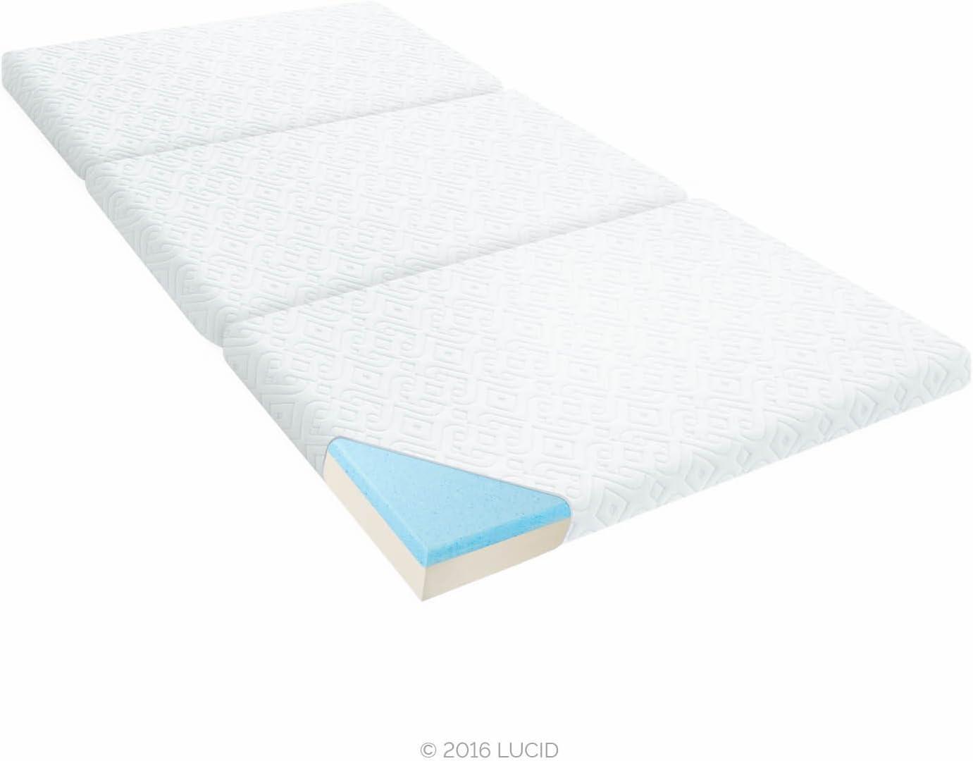 LUCID 3 Folding Gel Memory Foam Mattress, Twin