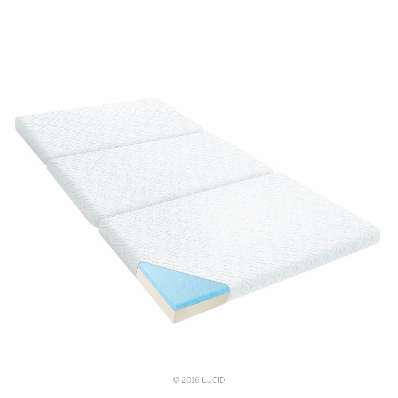 LUCID LU03TTF3MF 3 Inch Folding Gel Memory Foam Sofa Mattress, Twin, Gray by LUCID