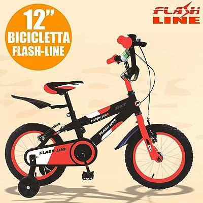 'Bakaji vélo vélo 12(pouces) bébé enfant Flash Line Orange fluo Noir