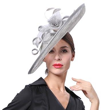 Koola s hats Sinamay Chapeaux Cérémonie Chapeaux Pour Femmes Mariage Femme  Bride Chapeau Casquettes Voilette Mariage Accessoires 19eca4ef26b