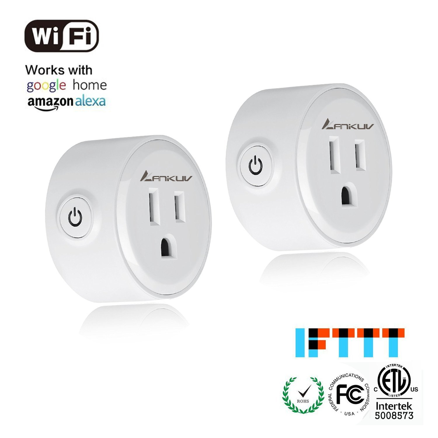 Wifi Smart Plug, ANIKUV Set of 2 Mini Smart Outlet - Mini Wifi Smart Plug - Compatible with Alexa - Control your Devices from Anywhere - Timing Function (2 Packs)
