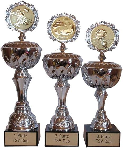 3er-serie los trofeos deportivos con grabado/logotipo deseo y 3 ...