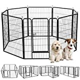 S AFSTAR Safstar Heavy Duty Pet Dog Puppy Outdoor Exercise Playpen Fence Door Black 8 Panels 48″ Review