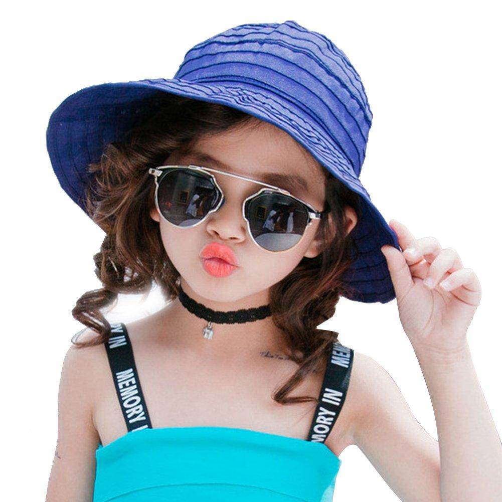 PT FASHIONS Summer Wide Brim Foldable Sun Hat Beach UPF 50+ Visor Cap Women Kids-Kmazarine