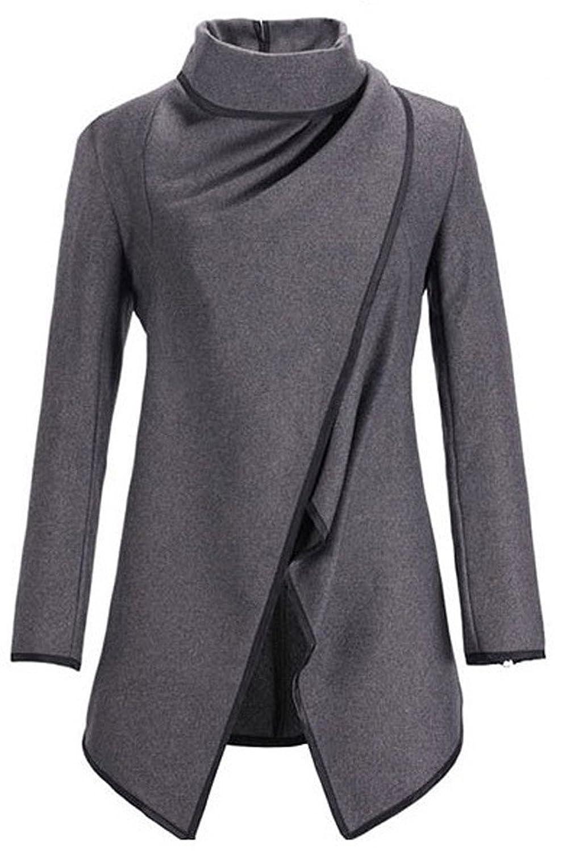 Woo2u Women's Long Sleeve Open Front High Neck Dust Coat Jacket