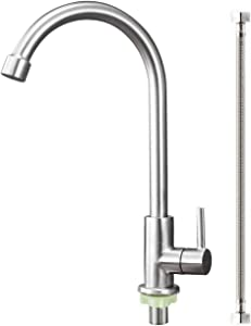 Aolemi Cold Water Only Kitchen Faucet Brushed Nickel Sink Faucet 304 Stainless Steel Lead Free Faucet High Arc