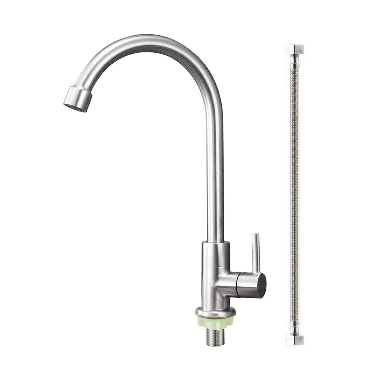 ORLEIMI Cold Water Only Kitchen Faucet Brushed Nickel Sink Faucet 304 Stainless Steel Lead Free Faucet High Arc