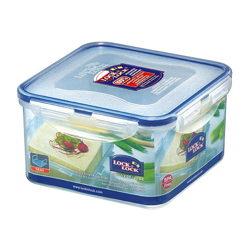 LOCK & LOCK Square Water Tight Food Container, Short (3.6-Cup) HPL823