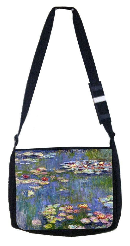 TM Medium Sized Messenger Bag 11.75 x 15.5 and 4.5 x 8.5 Pencil Case SET monets water lilys Rosie Parker Inc