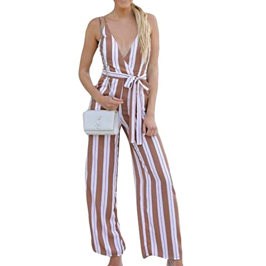 74de30cd9fe vermers Hot Sale Women Jumpsuits Casual Lady Stripe Print Loose Playsuit  with Belt Long Wide Leg