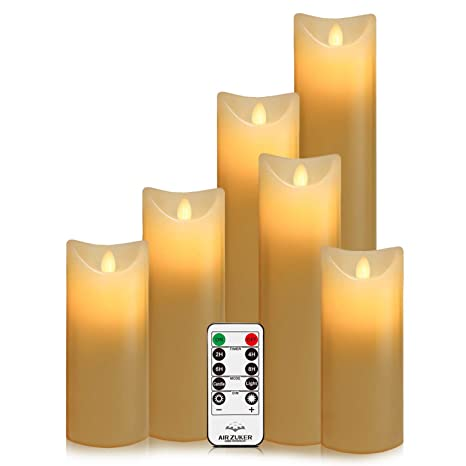 Batteriebetriebene Kerzen Mit Beweglicher Flamme.Air Zuker 6er Led Flammenlose Kerzen Batteriebetriebene Kerzen Säule Echtwachskerzen Mit Timer Und 10 Tasten Fernbedienung Für Dekorations Zb Party