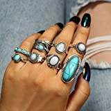 Asphire 8 Pcs Bohemian Joint Knuckle Rings Set Oval Turquoise Finger Ring Opal Gemstone Teardrop Midi Rings Punk Leaf Index R