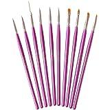 NAILFUN Pinselset 10-teilig (lila-metallic) für Nailart, UV-Gel, Acryl, Onestroke