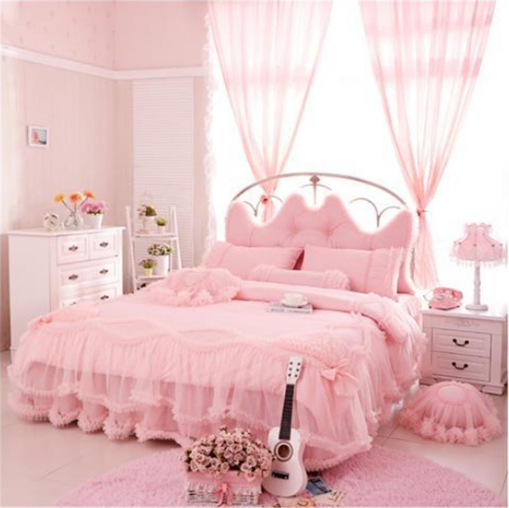 Auvoau Korean Rural Princess Bedding,Delicate Floral Print Lace Duvet Cover,Baby Girl Fancy Ruffle Wedding Bed Skirt,Princess Luxury Bedding Set 4PC (Full, Pink)