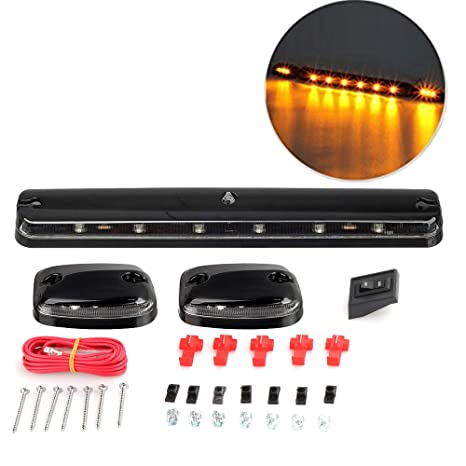 clear lens cab marker lights amber 12 led roof top running clearance lights  with wiring harness pack for 2007-2013 chevy silverado & gmc sierra  1500/2500/