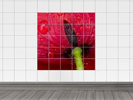 Piastrelle adesivo piastrelle immagine fiore rosso con gocce d