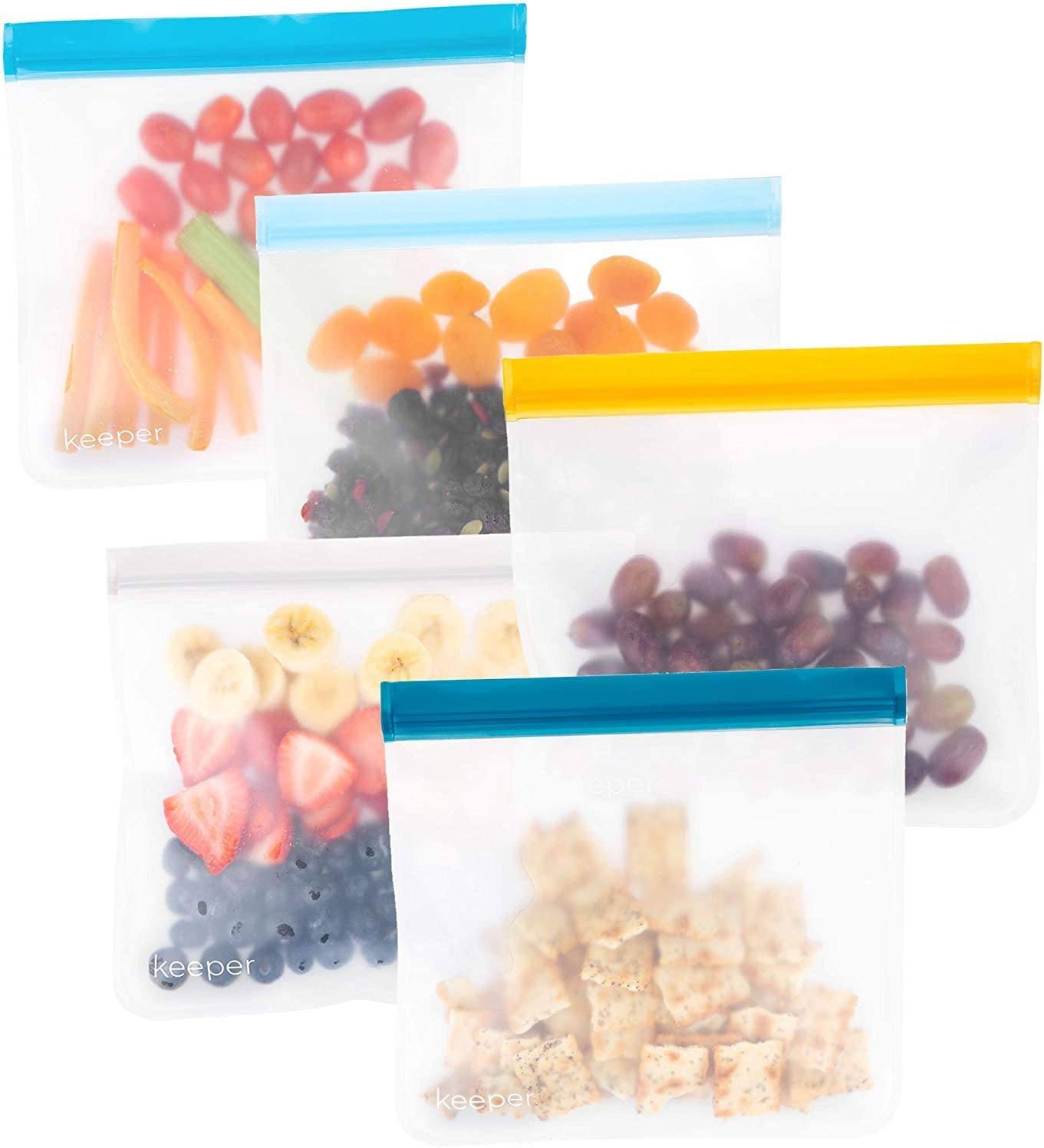 Keeper Reusable Ziplock Bags (5 Set, 32 oz) - Reusable Sandwich Bags For Kids Make Great Lunch Bags. Reusable Snack Bag Keeps Food Fresh. Plastic Food Storage Baggies Are Freezer Safe (Blue Skies)