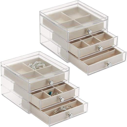 mDesign - Caja organizadora de bijouterie; para anillos, aros ...