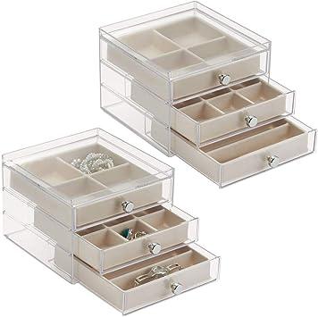 Schmuckaufbewahrung mit 3 Schubladen f/ür Ohrringe mDesign 2er-Set Schmuck Organizer kleines Schmuckk/ästchen aus Kunststoff cremefarben//braun Ketten Ringe /& Armb/änder
