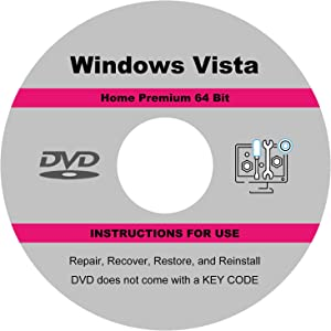 ILamourCar Repair, Recovery, Re-install Disc compatible with WINDOWS Vista Home Premium 64 Bit, Reinstall Boot Disc. Install To Factory Default, Fix PC, Laptop and Desktop.