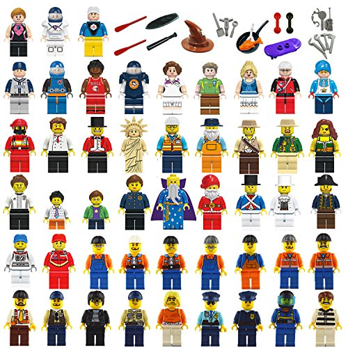 Naturalway Minifigures Set - 48+26pcs Community Mini People and Accessories 100% Compatible Building Bricks Minifigures for Kids Party,to Build More Fun. by Naturalway