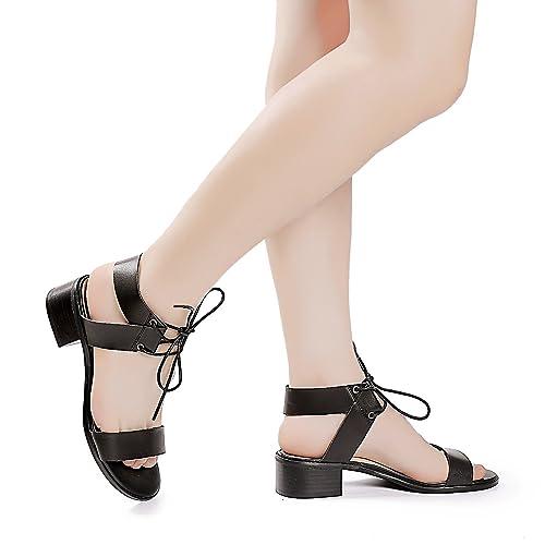 79f6f261325e6 Luoika Women's Wide Width Heeled Sandals - Comfortable Open Toe Ankle Strap  Flexible Pump Summer Shoes(180331,Black,8WW