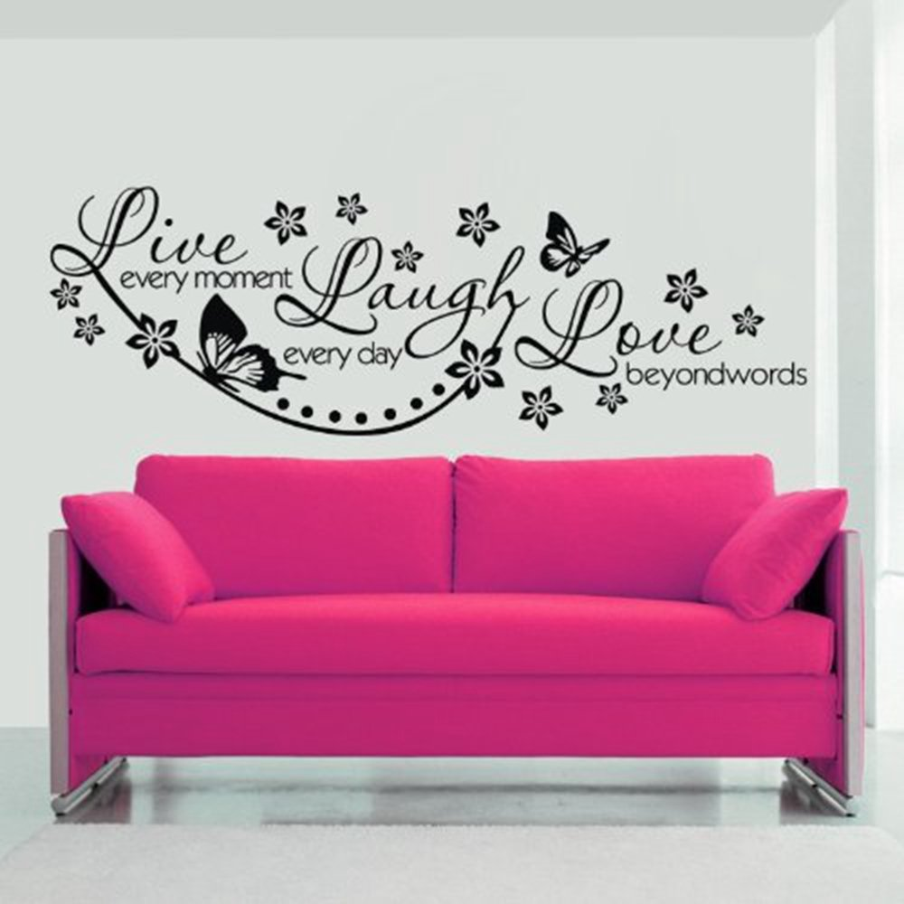 ColorfulHall 23.6'' X 38.2'' Sayings Letters for Wall Sticker Decor Decal Live Every Moment, Laugh Everyday, Love Beyond Words DIY Removable Home Decoration