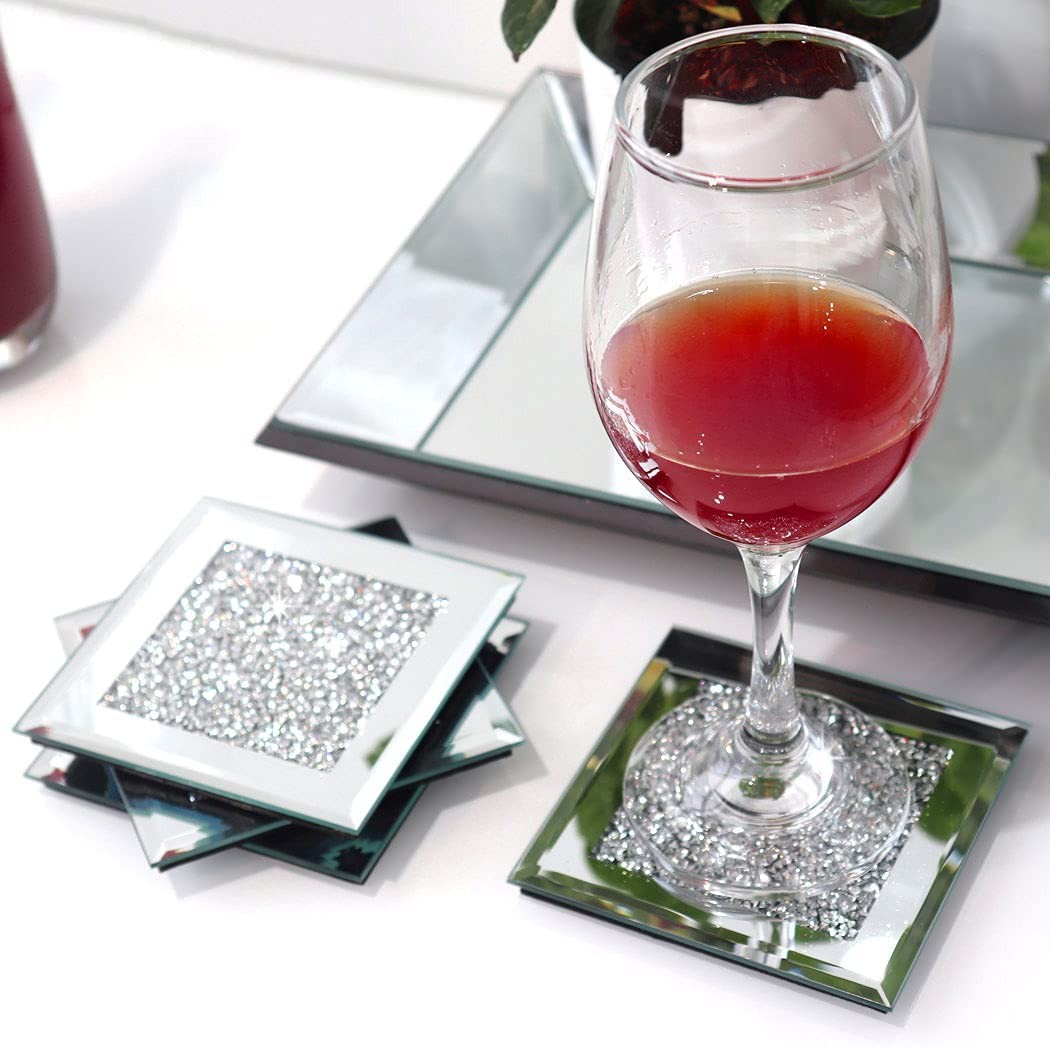 GIMORRTO Glass Mirrored Coaster 4 Set 4x4inch, Crushed Diamond Cup Mat Decor on Tabletop for Restaurant Kitchen bar Dining Table. (Silver)