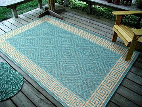 Furnish my Place Contemporary Geometric Rug, Indoor and Outdoor Area Rug, Easy to Clean, UV protected and Fade Resistant 1113, Ocean Blue