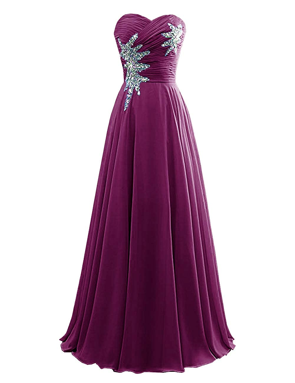Grape Women's Strapless Bridesmaid Dresses Beaded Prom Wedding Party Gowns