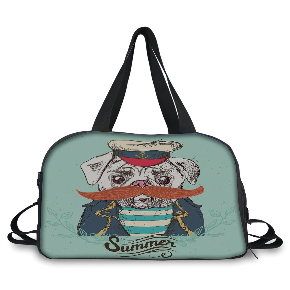 iPrint Travelling bag,Pug,Captain Dog with Hat Mustache Jacket and Shirt Cute Animal Funny Image Decorative,Navy Blue Pale Blue Orange ,Personalized