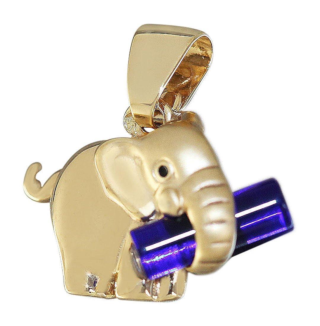 Hobra-Gold Anhänger Elefant - Gold 375 - Goldanhänger mit Stein - Goldelefant Glücksbringer d522