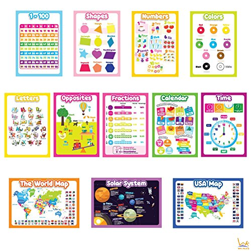 12 Educational Wall Posters for Toddlers, WK Home, Alphabet, Numbers 1-100, Shapes, Colors, Time Clock, Days of The Week, Months and Season, World Map, US Map, Universal