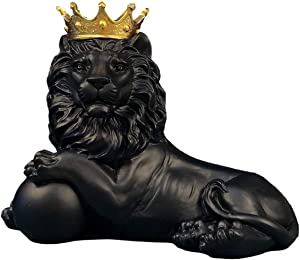 H&W 7.5''H Lion Crown King Sculpture Home Decor Ornament, Animal Statue Statues, Abstract Figurine Business Gift (Black Lying)
