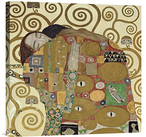 Global Gallery GCS-375173-2424-142 Gustav Klimt The Embrace Wall Art Gallery Wrap Giclee on Canvas - Embrace Canvas Stretched