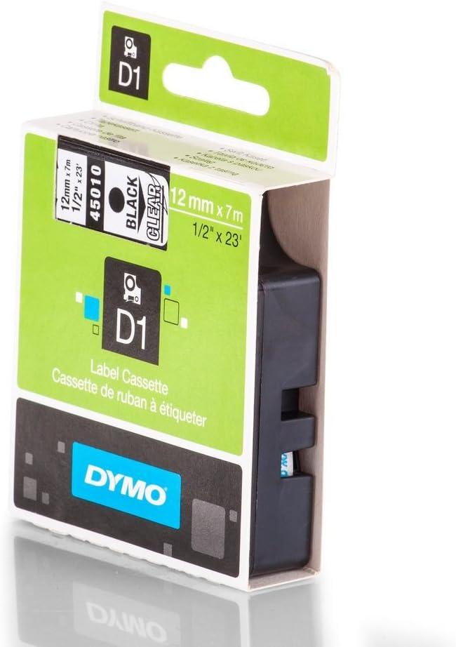 DRUCKER SCHRIFTBAND KASSETTE 12mm WEIß-TRANSP für Dymo Labelmanager 210D