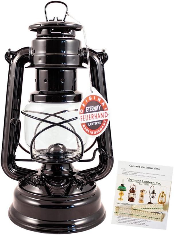 Vermont Lanterns Feuerhand Lampe Tempête–fabriqué en Allemagne Lampe à Huile–25,4cm avec Soin Lot Noir