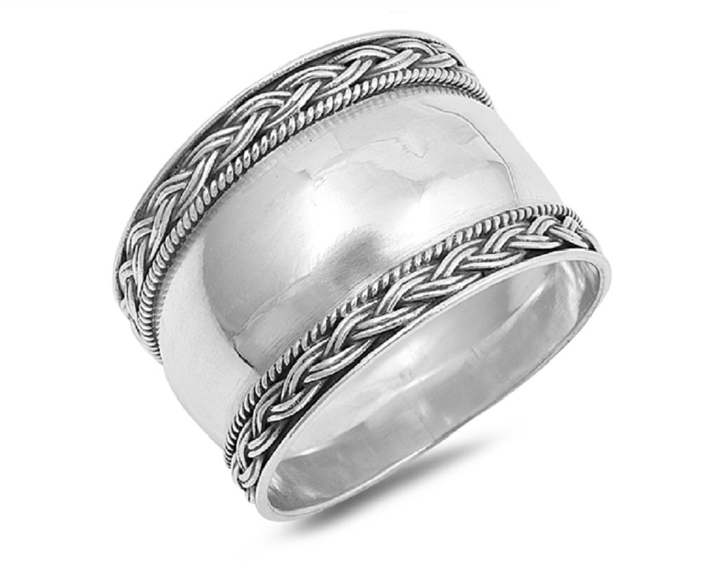 CloseoutWarehouse Sterling Silver Braided Edges Bali Ring Size 6