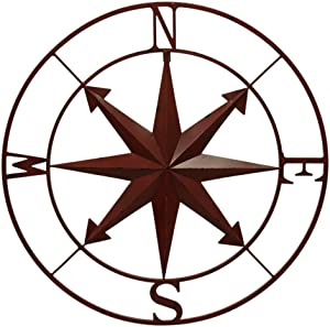 Zeckos Weathered Metal Indoor/Outdoor Compass Rose Wall Hanging 28 Inch