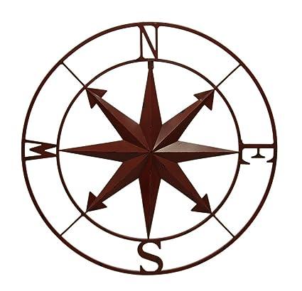 amazon com zeckos distressed metal indoor outdoor compass rose wall