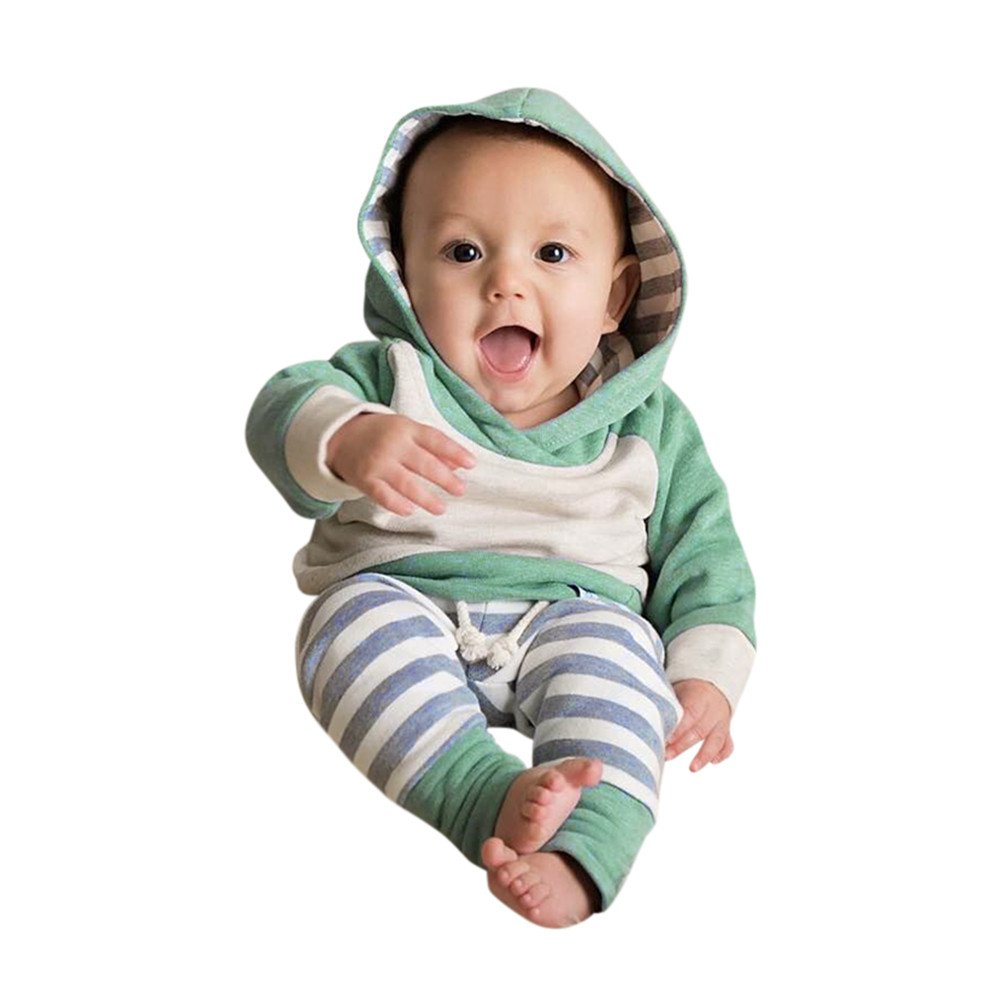 3Pcs Toddler Baby Boy Girl Warm Long Sleeve Hoodie Tops+Pants With Headband Clothes Outfits Set (Green, 3-6 Months)