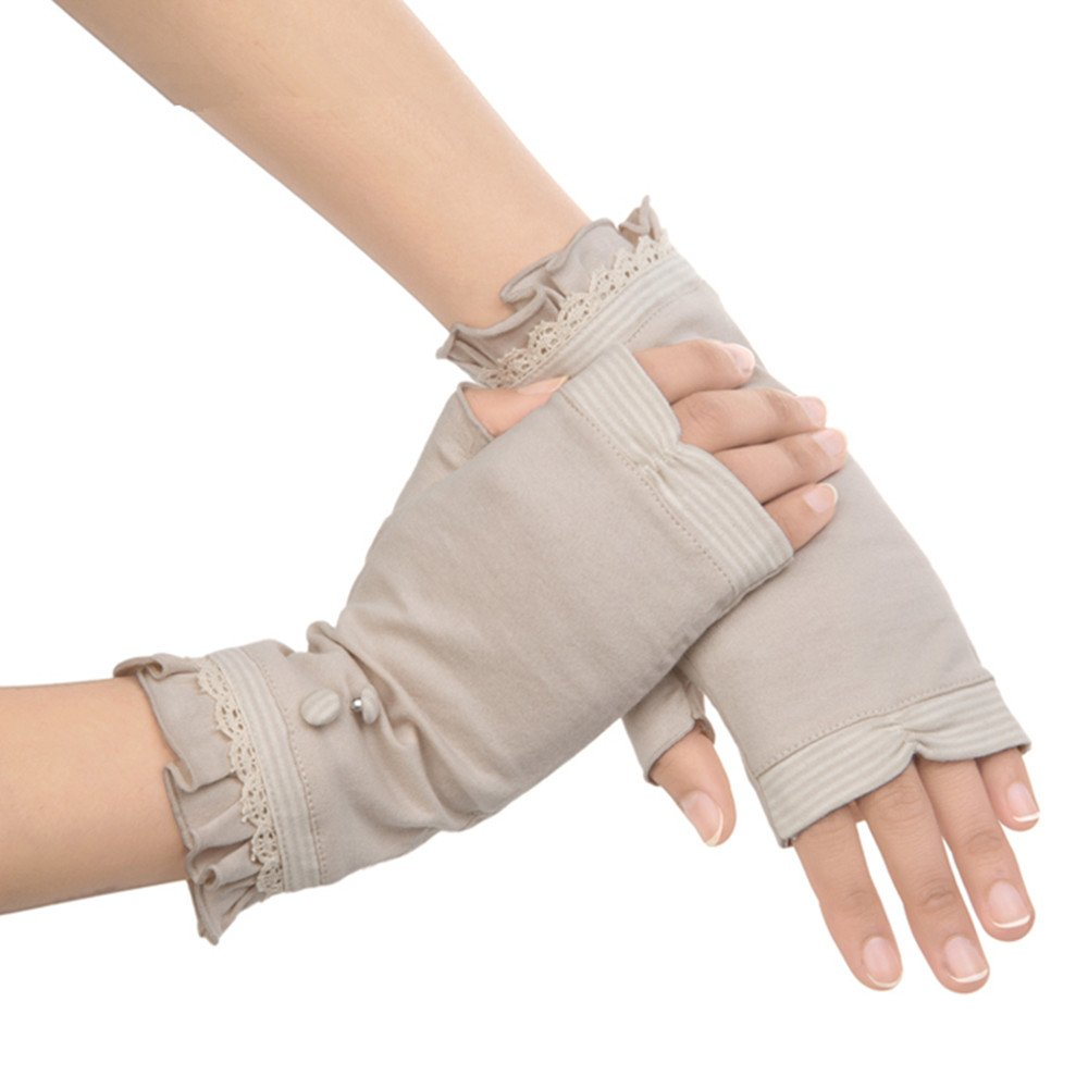 Kenmont Women Summer Sun UV Protection Cotton Outdoor Driving Gloves (Beige) G2970-36FW
