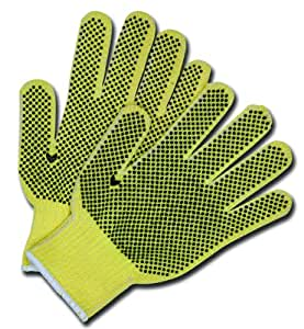 MCR Safety 9363M Kevlar Cotton Regular Weight 7 Gauge Plaited Gloves with PVC Dots On 2-Side, Medium, 1-Pair