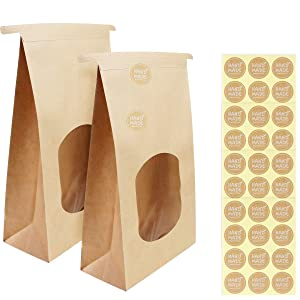 BILLIOTEAM 40 Pack Large Kraft Paper Bakery Bags with Clear Window,Tin Tie Tab Lock Brown Coffee Cookie Packaging Treat Bags with 48 PCS Label Seal Stickers(9.6