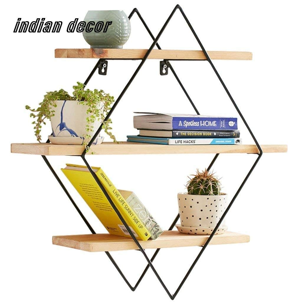 Indian Decor 45x45x15 Modern Wrought Iron Wood Wall Racks Living Room Ideas Wall Hanging Wall Partition Bedroom Multi Purpose Shelf Amazon In Electronics
