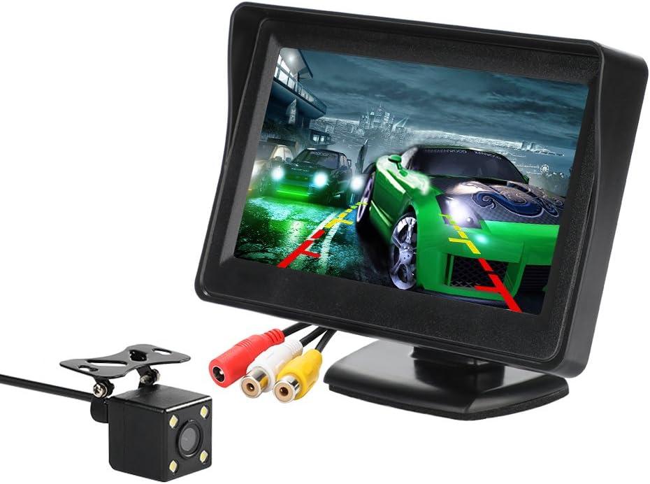 Kit de cámara y Monitor de Respaldo para el automóvil, Monitor LCD de 4.3 Pulgadas Sistema de Asistencia de estacionamiento de Seguridad con Vista Trasera y cámara retrovisora de 4 LED (CL403KRCA)